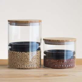 Airscape Glass and Bamboo Storage Canister Set