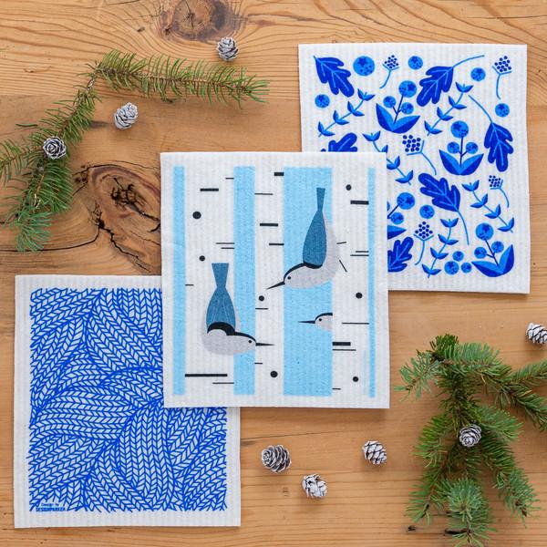 Swedish Dishcloth Set of 3, Winter