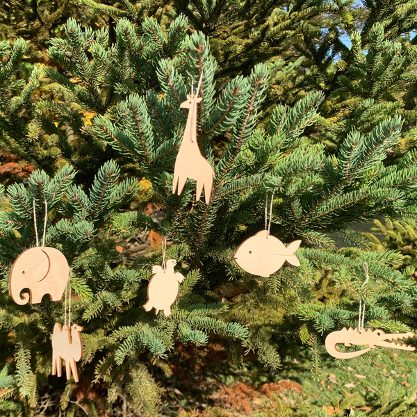 Laser Cut Wood Ornament Set