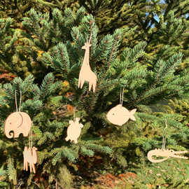 Laser Cut Wood Ornament Set