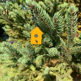 Wood Bird House Ornament