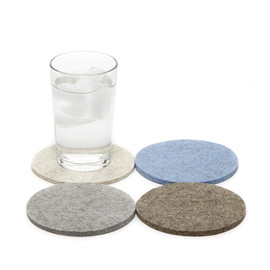 Round Wool Coasters, Set of 4