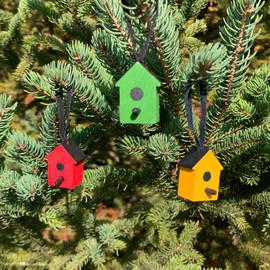 Wood Bird House Ornament, 3 Piece Set