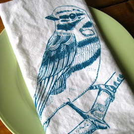 Natural Cotton Dinner Napkins, Birds