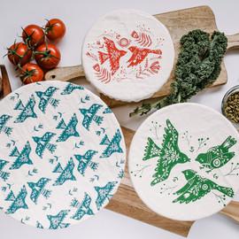 Three Piece Bowl Covers Set, Folk Birds
