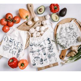 Three Piece Produce Bag Set, Herbs & Veggies