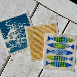 Swedish Dishcloth Set of 3, Summer By The Sea