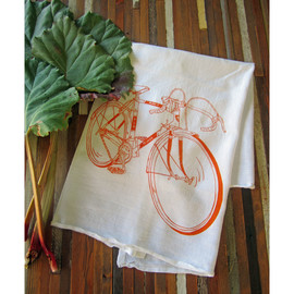 Natural Cotton Tea Towel, Bicycle