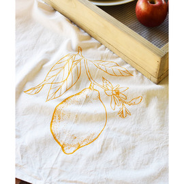Natural Cotton Tea Towel, Lemon