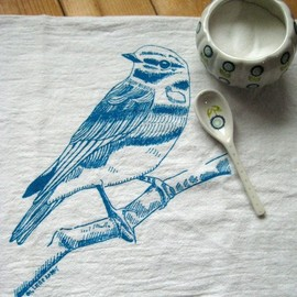 Natural Cotton Tea Towel, Birds