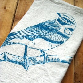 Natural Cotton Tea Towel, Bird