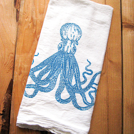 Natural Cotton Tea Towel, Octopus