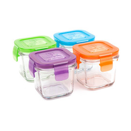 4oz Glass Wean Cube, Set of 4