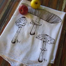 Cotton Tea Towel, Mushroom