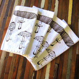 Organic Cotton Napkins, Mushrooms