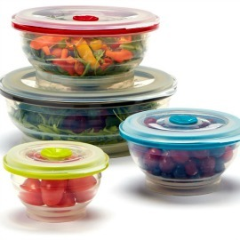 Collapsible Silicone Food Storage Containers, Round