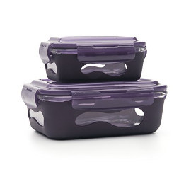 Eggplant Glass Rectangular Container w/ Silicone Sleeve