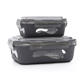 Slate Grey Glass Rectangular Container w/ Silicone Sleeve