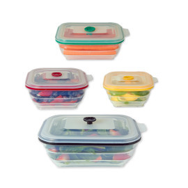 Collapsible Silicone Food Storage Containers, Rectangle By Collapse It