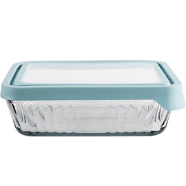 Embossed Glass Rectangular True Seal Storage Container
