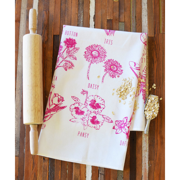 Natural Cotton Tea Towel, Flower Garden