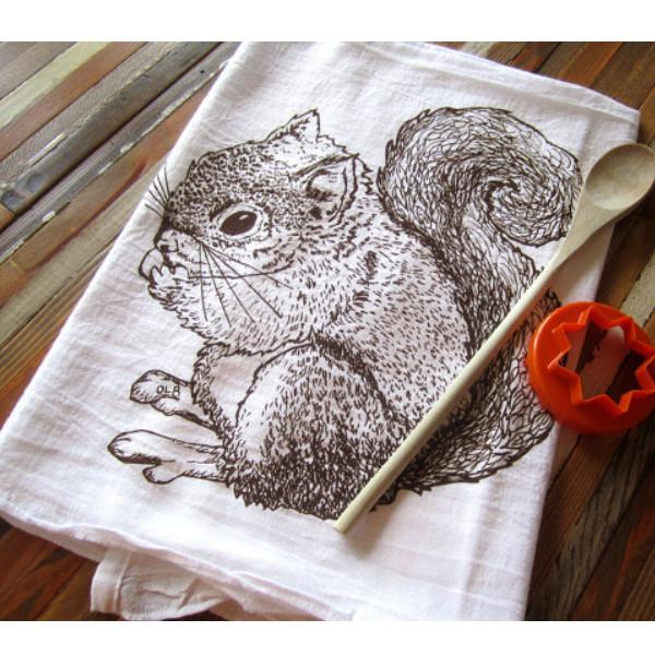 Cotton Flour Sack Towel, Squirrel