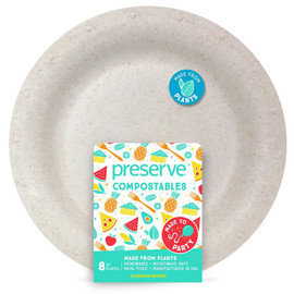 "Compostable 10"" Plates, Natural (8 count)"