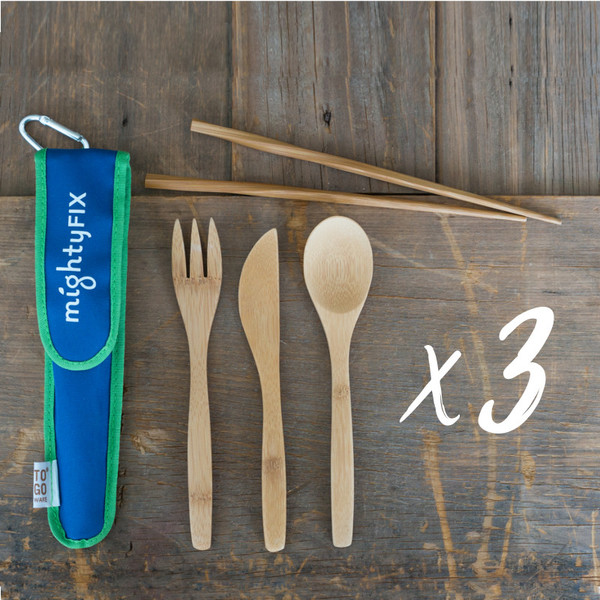 Three sets of Bamboo Utensils and Chopsticks