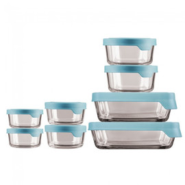 TrueSeal Glass Food Storage Set with Mineral Blue Lids (Set of 8)
