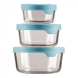 TrueSeal Glass Food Storage Set with Mineral Blue Lid (Set of 3)