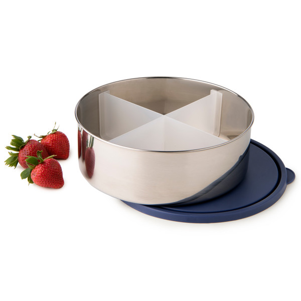 Divided Big Bowl with Navy Lid