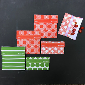 LunchSkins 6-Piece Starter Kit - Sunset Circles and Green Stripes & Dots