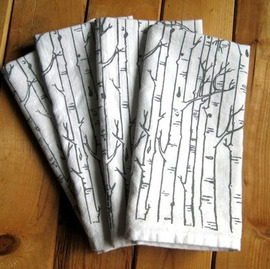 Natural Cotton Dinner Napkins, Birch Trees