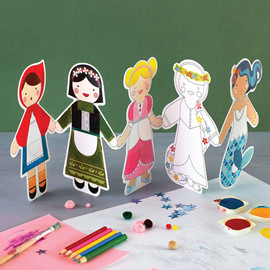Fairy Tales Paper Doll Chain Coloring Kit