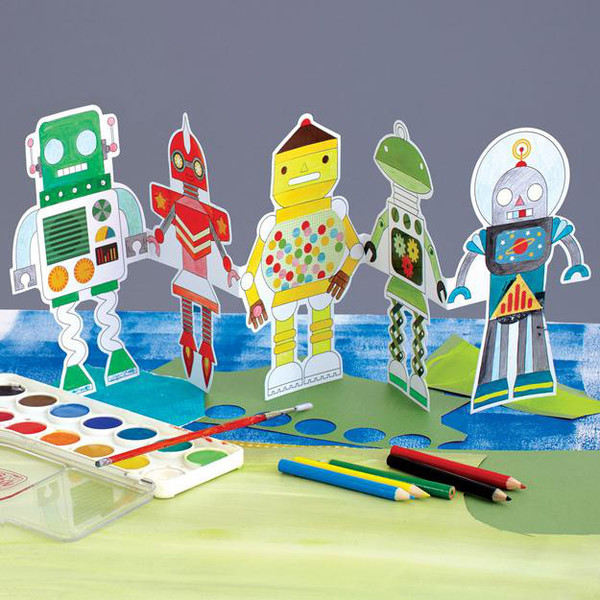 Robots Paper Doll Chain Coloring Kit