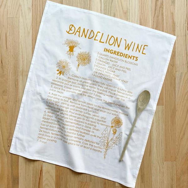 Natural Cotton Tea Towel, Dandelion Wine