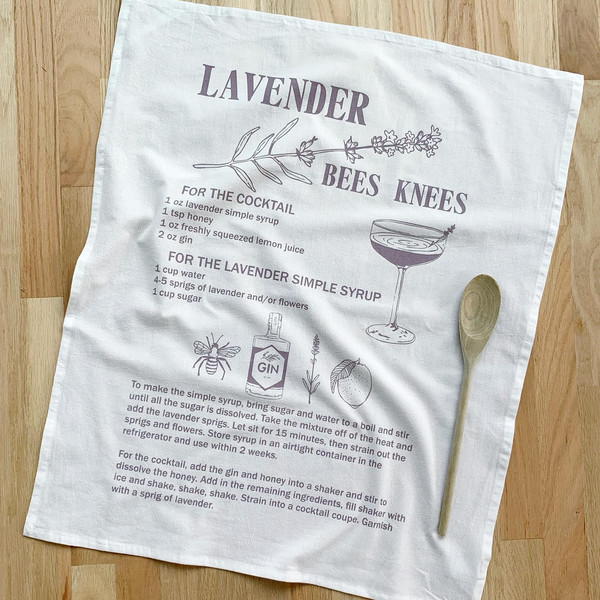 Natural Cotton Tea Towel, Lavender Bees Knees