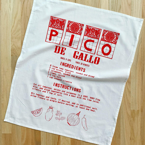 Natural Cotton Tea Towel, Pico De Gallo