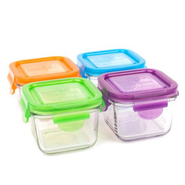 7oz Glass Snack Cubes, Set of 4