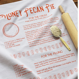 Natural Cotton Tea Towel, Honey Pecan Pie