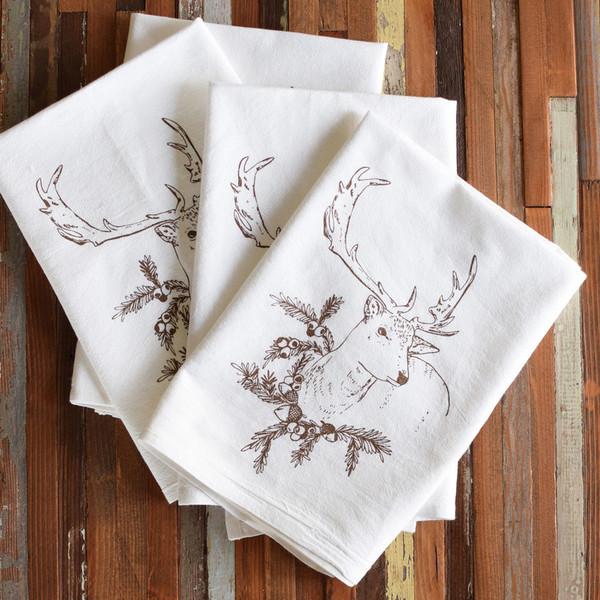 Cotton Dinner Napkins, deer