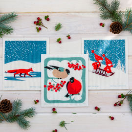 Swedish Dishcloth Set of 3, Winter Snow Wonders