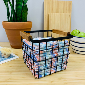 Wire and Wood Basket with 12 Tidy Cloths