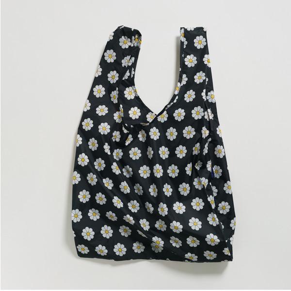 Reusable Shopping Bag, Black Daisy