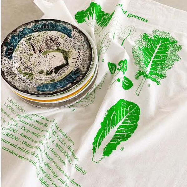 Natural Cotton Tea Towel, Salad Greens