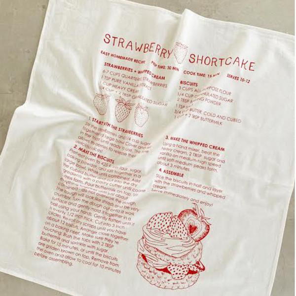Natural Cotton Tea Towel, Strawberry Shortcake