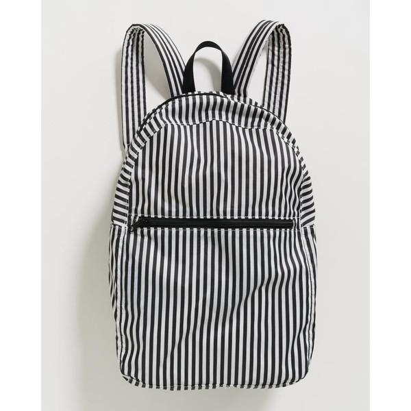 Packable Backpack, Black & White Stripe