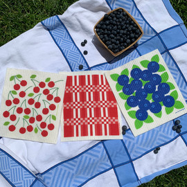Swedish Dishcloth Set of 3, Summer Picnic