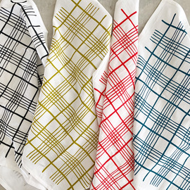 Natural Cotton Dinner Napkins, Picnic Plaid