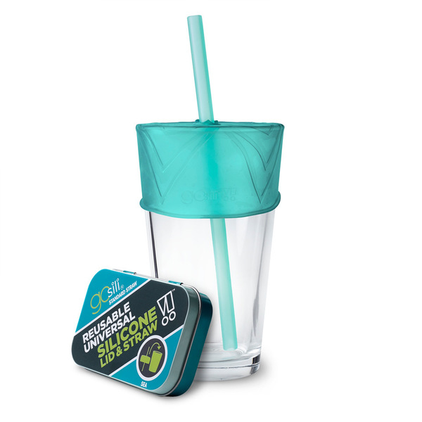 Universal Reusable Silicone Lid & Straw in Travel Tin